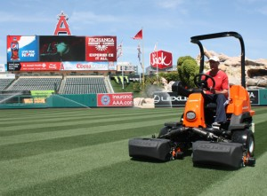 Barry Lopas operating a Jacobsen ECLIPSE 322 riding mower in the outfield. The Angels have been Jacobsen customers for almost a decade.