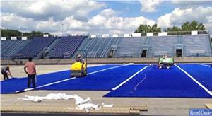 Field Turf has installed blue turf at the Ravenna High School, Ravenna, Ohio, newly refurbished football stadium. Image: Record Courier