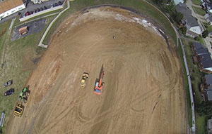 Aerial of work at Bayless High School.