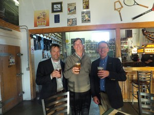 Nothing beats a cold beer after a hard day's work...or more specifically after Brian Horgan, Ph.D., spoke to Peaks and Prairies GCSA members at their Fall Meeting. Left to right: Horgan, Clark Throssell, Ph.D. (Golfdom Research Editor), and David Phipps (GCSAA Field Staff).