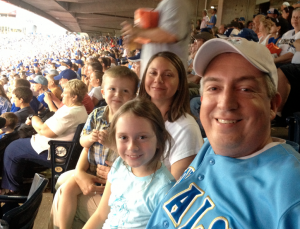The Jones Family (Boyd and Adrianne in the back, Evey and Seth in the foreground) take in a game at 'The K' earlier this season. Photo by: Friendly Fellow Royals Fan