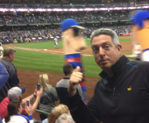 """The sausage race at Miller Park. Seth was pulling for """"Cinco."""" Photo by Pete Seltzer"""