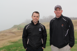 Chris Zugel and Seth, aware of the fog. Photo by Pete Seltzer