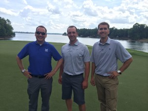 (L to R) Adam Slick of Jacobsen; Steve Loughrin, Rock Ridge CC; Jared Nemitz, The Peninsula Club. Photo by Seth Jones