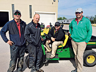 (L to R) Seth English, irrigation technician, Nate Herman, senior assistant, Kyle Callahan, superintendent and Aaron Deloof, spray technician at the start of their two-week journey.