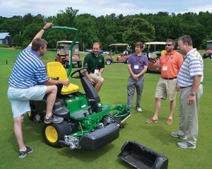 John Deere has made multiple visits this year with superintendents off-site to Pursell Farms, Sylacauga, Ala., to demo products on its FarmLinks  Golf Club.