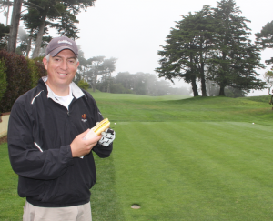 Enjoying a burger dog on the first tee of the Olympic Club. Oh, how I wish I could have one right now!