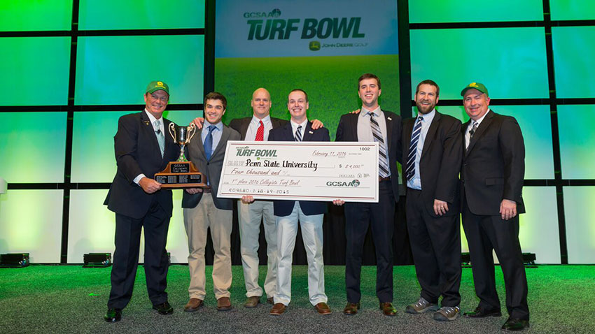 Team 20 from Penn State accepts their GCSAA Collegiate Turf Bowl award on Feb. 11 during the closing ceremony of the Golf Industry Show.