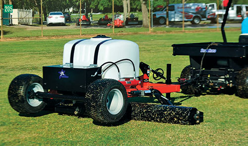 Tow-behind fairway rollers feature water tanks that allow superintendents to adjust the psi applied to turf.