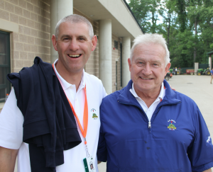 Paul R. Latshaw (right), with one of his many students, John Zimmers, superintendent at Oakmont.