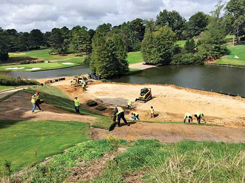 By sod sprigging, Waldron was able to grow-in the course in Virginia's short growing window, saving a month's time.