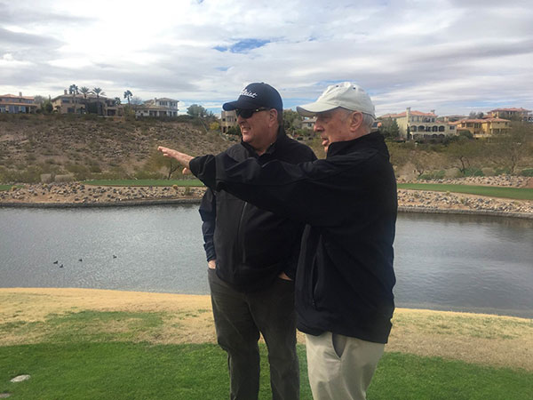 Eric Dutt, Rio Secco Vice president of golf operations, and designer Rees Jones plan the renovations at Rio Secco Golf Club in Henderson, Nevada.