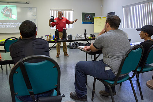 Ewing educator Raul Gonzalez presents an irrigation basics course to Landscapes Unlimited employees. | Photo: Ewing Irrigation & Landscape Supply