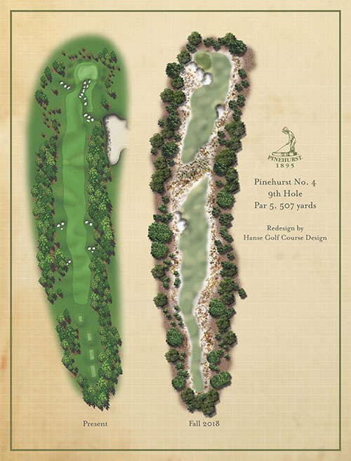 A rendering of the 9th hole of Pinehurst No. 4 | Rendering provided by Pinehurst Resort & Country Club.