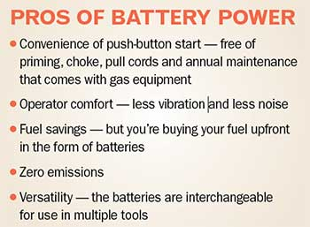 Pros of battery power (Graphic: Golfdom staff)