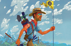 Traveling man carrying Hole No. 18 flag (Image: Andrew DeGraff)