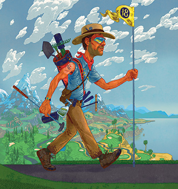 Traveling man carrying Hole No. 18 flag (illustration: Andrew DeGraff)