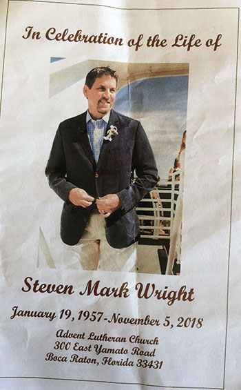 Steve Wright funeral program (Photo: Seth Jones)