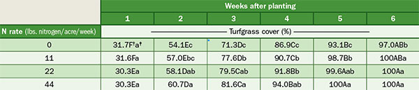 Effect of nitrogen rate on turfgrass cover