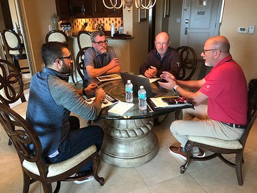 Good talks during the 2018 Golfdom Summit board room meetings. L to R: Chris Benevides, growth development manager, FairwayIQ John Gurke, CGCS, Aurora (Ill.) CC Dave Schlagetter, superintendent, Indian Hill Club, Winnetka, Ill. Dave Vanslette, CEO, FairwayIQ. Photo: Seth Jones