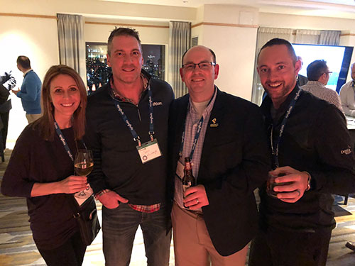 L to R: Stephanie Schwenke, Syngenta; Golfdom Publisher Craig MacGregor; Ryan Cummings, Elcona CC, Bristol, Ind.; Jared Stanek, Desert Willow Golf Resort, Indio, Calif. (Photo: Golfdom staff)