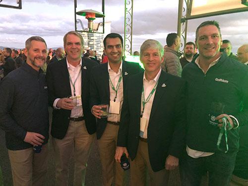 Bill Roddy, Jamie Breuninger, Ph.D.; Karan Bansal, Tom Linnen and Craig MacGregor at the Corteva party (Photo: Golfdom staff)