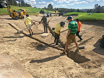 Crews doing bunker renovations (Photo: The Country Club at Castle Pines)