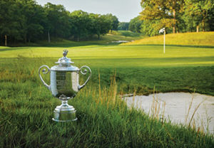 Bethpage course and trophy (Photo: The PGA of America)
