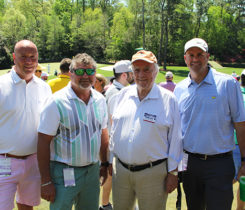 Left to right: Rich Sweeney, Plant Food Co.; Ricky Reeves, superintendent, Miami Beach GC; Robert Trent Jones II, ASGCA; and Nate Watkin, superintendent at Seagate CC, Delray Beach, Fla., smile for a photo together on Amen Corner at Augusta National. (Photo: Seth Jones)