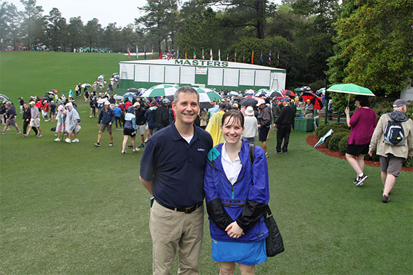 Roddy and Richter were enjoying their first Masters as much as possible ... but wet weather made it a challenge. Photo: Seth Jones