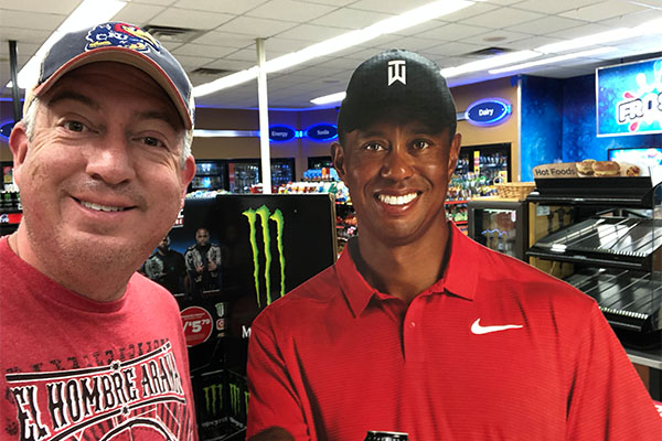The last photo Seth took from Augusta 2019: himself and (paper) Tiger Woods, perhaps one to add to his collection of photos with past Masters champs. Photo: Seth Jones