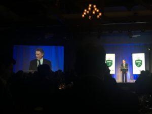 Bernhard Langer gives his acceptance speech at the GWAA awards dinner. Photo: Clara Richter