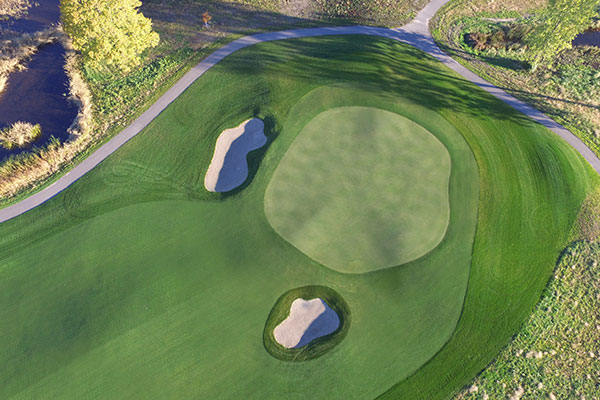 An aerial view of the No. 15 green complex. Photo: Richard Mandell Golf Architecture