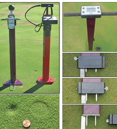 Measurement devices used in this research. From left to right: TruFirm, Clegg and TDR350 with Turf Rod Spacers at 0.5-, 1.0- and 1.5-inch depths. (Photo: Daniel O'Brien)