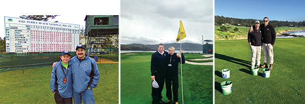 From L to R: Steven Spatafore with dad Pete Spatafore in 2010, with PGA Tour rules official Jon Brendle in 2014, with dad in 2016. (Photos courtesy of Steven Spatafore)