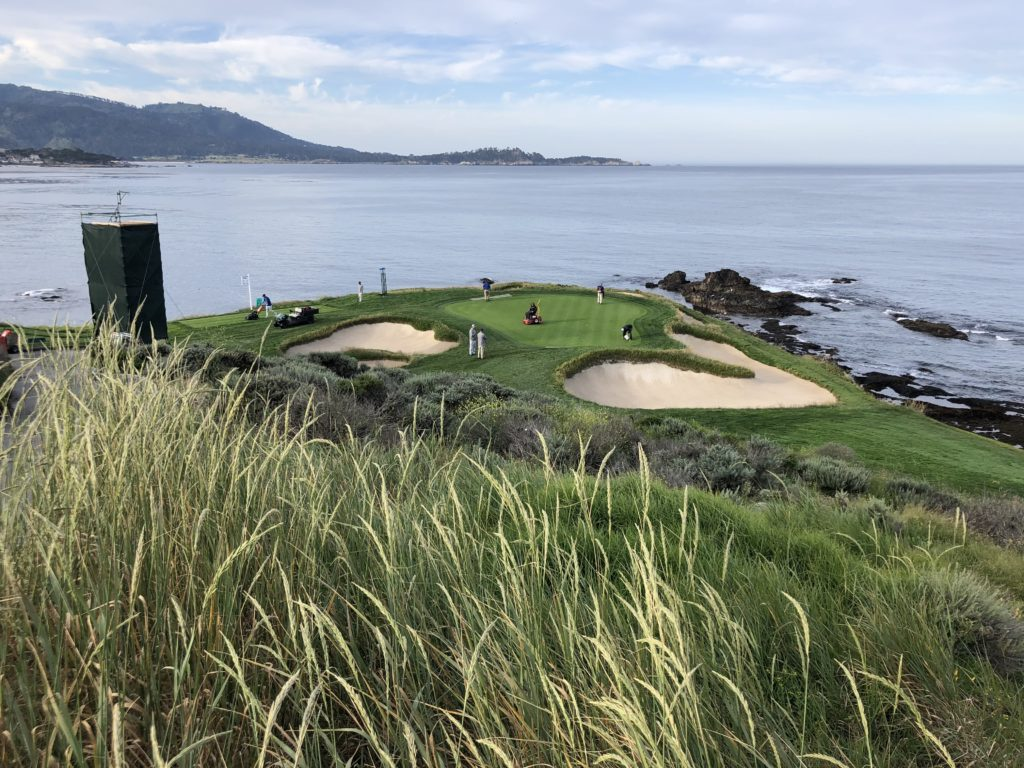 Number 7 green at Pebble Beach as the crew prepares for the U.S. Open (Photo: Seth Jones)