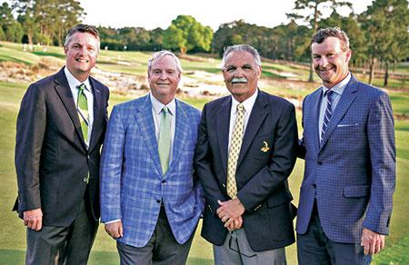 From left: Pinehurst President Tom Pashley, Pinehurst CEO and owner Bob Dedman Jr., Carolinas Golf Association inductee Bob Farren and golf course architect Gil Hanse. (Photo: ackson Sveen/Carolinas Golf Association)