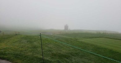 Hole 10 Pebble Beach covered in fog; Photo: Golfdom Staff