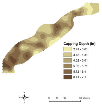 Krigged map extrapolating capping depth from a 20-foot-by-20-foot sampling grid. (Figure: Reagan Hejl)