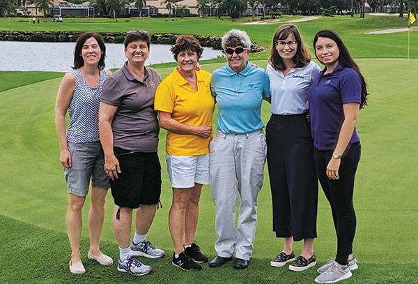 Norma Gillis, Pat Morrow and Sheryl Wells of Bayer; Laurie Frutchey, superintendent, Lexington CC; Clara Richter, Golfdom; and Michelle Osuna, Bayer. (Photo: Clara Richter)