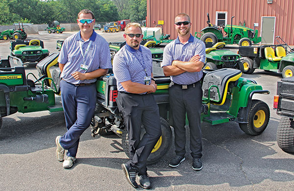 Jarrett Chapman, assistant-in-training, Alex Stuedemann, CGCS, and Andy Cooper, assistant-in-training. (Photo: Seth Jones)