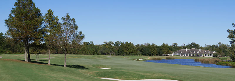 A look at the 18th hole, fairway to green to clubhouse at TPC Louisiana. (Photo: TPC Louisiana)
