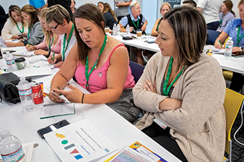 Attendees of Women in Golf spent the final day of the event learning about their different working styles by completing a workshop in psycho-geometrics. (Photo: Bayer)