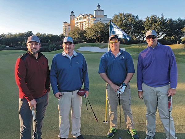 Chris Durig, BlueBird Turf Products, Jason Bastille, Wentworth by the Sea CC, Brian Pirl, Aqua Vac, and Nate Watkins, The Seagate CC (Photo: Golfdom Staff)