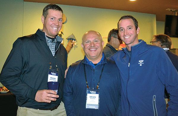 Micah Pennybaker, Carmel CC, Brian Godwin of Turfco and Charles Aubry. (Photo: Golfdom Staff)