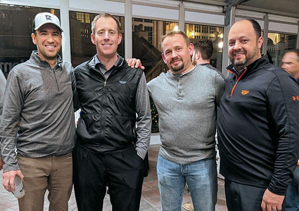 Matt Cavanaugh, Rush Creek GC, Aaron Johnsen, WinField United, Alex Stuedemann, CGCS, TPC Deere Run, and John Smith, WinField United (Photo: Golfdom Staff)