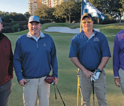 Chris Durig, BlueBird Turf Products, Jason Bastille, Wentworth by the Sea CC, Brian Pirl, Aqua Vac, and Nate Watkins, The Seagate CC (Photo: Golfdom Staff)