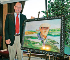 "Pete Dye receives the ""Ambassador of Golf"" award at the 2005 NEC Invitational at Firestone Country Club in Akron, Ohio, on Aug. 18, 2005. (Photo: Getty Images/iStock-Getty Images/ PGA Tour)"