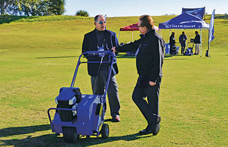 BlueBird Turf Products showed off existing equipment at the Summit and talked to attendees about its new battery-powered equipment line. (Photo: Clara McHugh)