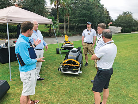 Attendees at the 2018 Golfdom Summit take a look at the Cub Cadet RG3. (Photo: Golfdom Staff)